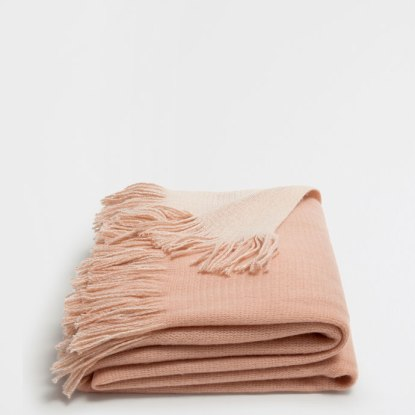 Zara Home - Plain Pink Double-faced Blanket Fringe.jpg